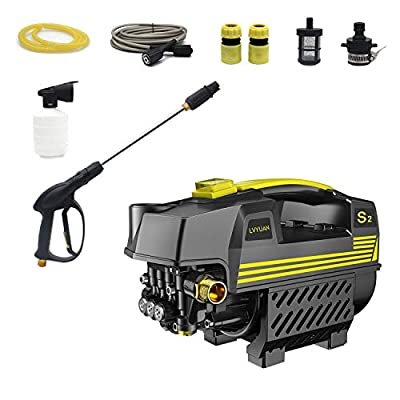 LVYUAN Pressure Washer 1200 PSI 1500W 100bar Electric BRUSHLESS Technology | Ultra Low Sound Power Efficient | Super Lightweight by GuangZhouLvYuanKeJiYouXianGongSi