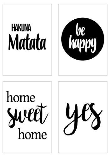 Edition Seidel Set 4 Premium Poster mit Sprüchen (Format DIN A4) ohne Rahmen Kunstdruck mit Zitaten (schwarz weiß). home sweet home, Hakuna Matata Bild Bilder Wandbild Wohnzimmer Schlafzimmer Küche