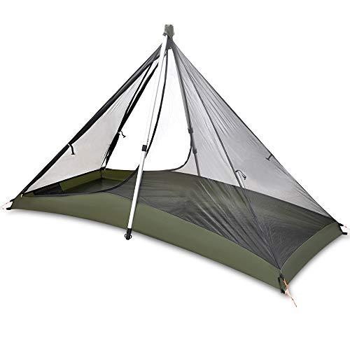 GEERTOP 1 persona 3 temporadas 20D Tienda de campaña - 210 x 90 x 105 cm - con mochila ultraligeria para acampañada, senderismo, escalada