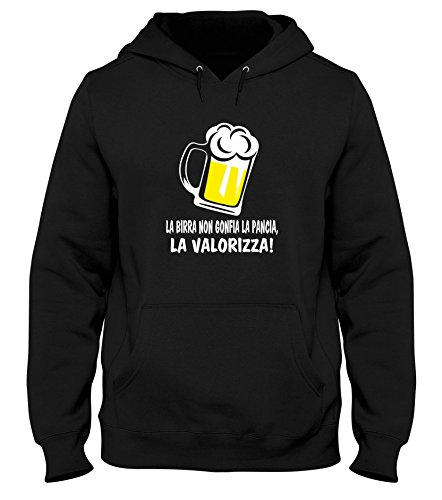 T-Shirtshock Felpa CappuccioUomo Nera T0990 LA Birra Non GONFIA LA Pancia LA VALORIZZA Bevande Sballo