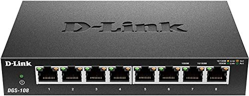 D-Link DGS-108 - Switch red 8 puertos Gigabit RJ-45