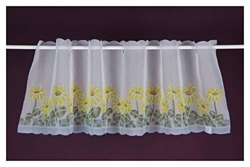 Visillo con diseño de flores, cortina corta, 50 x 150 cm, blanco/multicolor