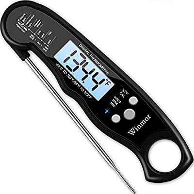 Upgraded 2020 Version Digital Meat Thermometer for Grill and Cooking, 2S Best Super Fast Instant Read Waterproof Kitchen Thermometer Probe for Food, Candy, Liquids, Grilling, Beef, Bread, Cakes, BBQ
