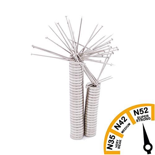 Brudazon | 45 mini schijfmagneten 10x2 mm | N52 dikke stand - neodymium magneten ultrasterk | Power magneet voor modelbouw, foto, whiteboard, prikbord, koelkast, knutselen | magnetische schijf extra sterk