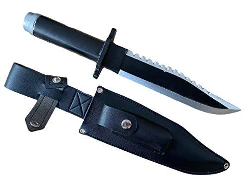 Cuchillo de supervivencia de goma Johnnies, tamaño completo, accesorio para disfraz de 32 cm, herramienta de senderismo de montaña, accesorio de disfraz de Rambo