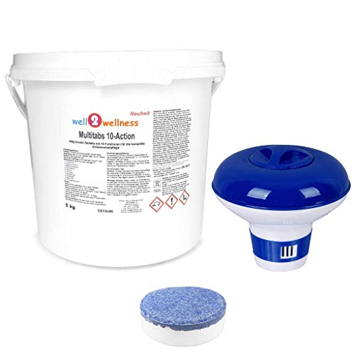 well2wellness Chlortabletten Pool Chlor Multitabs 10-Action 200g mit 10 Funktionen - 5,0 kg Plus Dosierer