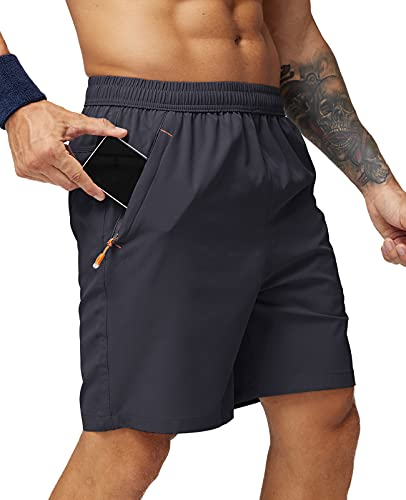 MIER Men's Quick Dry Running Shorts with Zipper Pocket, Elastic Waist Athletic Workout Exercise Fitness Shorts, 7 Inch, Dark Grey, Medium