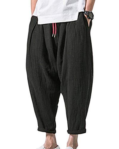 Sommerhosen Herren Bequeme Leichte Viele Weite Taschen Freizeithose Leinenhose Modernas Lässig Caprihose Männer Nner (Color : Schwarz, Size : M-Waist:70-73CM)