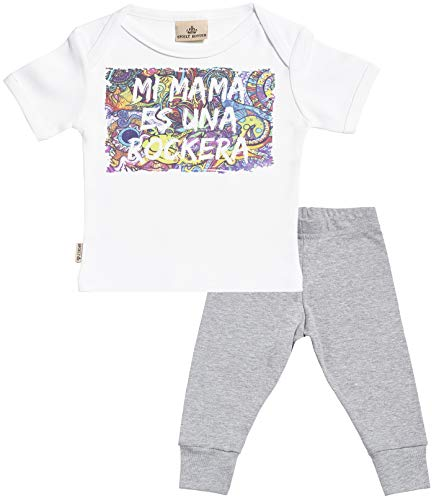 SR - Mi mamá es una rockera Regalo para bebé - Blanco Camiseta para bebés & Negro Pantalones para bebé - Ropa Conjuntos para bebé