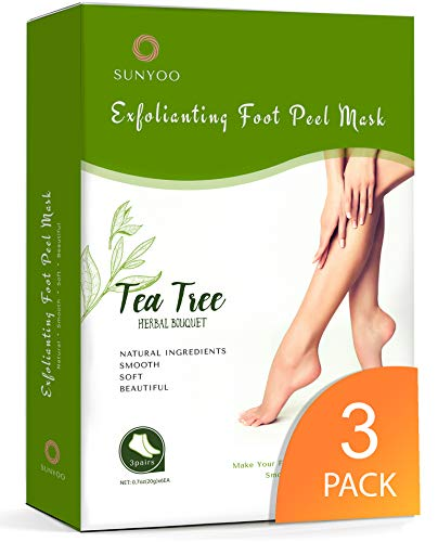 Foot Peel Mask 3 Pack Foot Peeling Mask for Soft Baby Feet - Hard Skin Remover Foot Mask, Removes Calluses and Hard Skin, Foot Care For Men and Women Tea Tree 3 Pack