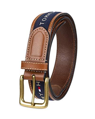 Tommy Hilfiger - Cinturón con cinta incrustada para hombre. Diseño con cinta de tejido trenzado y hebilla de una sola aguja - Azul - 36