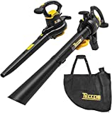 TECCPO 12 Amp Leaf Blower/Vacuum/Mulcher, Professional Leaf Vacuum, Variable Blow Speed of 170/250mph