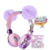 Kids Headphones, Purple POM POM Bear Ear 2020 Upgraded w/Adjustable Headband, Over On Ear Headset w/Mic for Girls/Teens/School/Kindle/Tablet/PC (Wired)