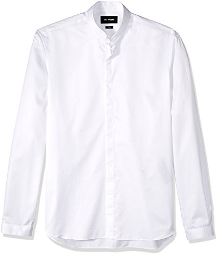 The Kooples Men's Plain Cotton Dress Shirt with a Stand-Up Collar, White, S