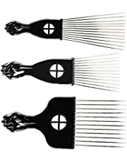 3 Maten Afrikaanse haaroogsten Fist Pick Metal Prong Afro Combs Fashion Kappen Brush Styling Tool Set, Comb