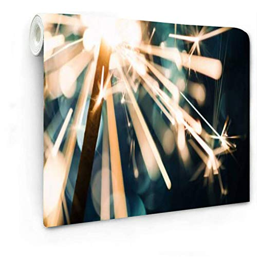 """Sparkler on defocused Blue Background Wallpaper Self-Adhesive Removable- 100"""" x 143.7"""" Peel and Stick Wall Mural Decorative Wall Living Room Kitchen Liner Vinyl"""