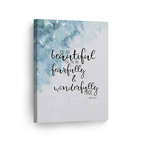 Psalm You are Beautiful for You are Fearfully and Wonderfully Made Quote Hand Lettering and Watercolor Paint Scripture Wall Art Bible Verse Canvas Print Home Decor Stretched Ready to Hang - 12x8
