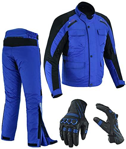 Traje de moto para hombre | Chaqueta | Pantalones | Guantes de cuero | Cordura Textile CE blindado impermeable acolchado ajustable transpirable (pecho pequeño – cintura 30/L 32 + guantes S, azul)