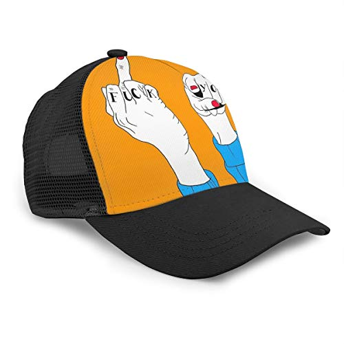 Fuck You Gorra de béisbol de algodón con dedo medio para hombres y mujeres, sombrero de papá con ala curva, gorras ajustables de malla para el sol, para niños y niñas, color negro