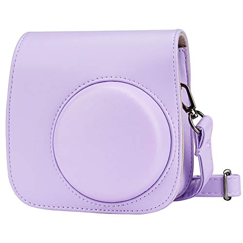 Blummy PU Leather Camera Case Compatible with Fujifilm Instax Mini 11/ Mini 9/ Mini 8 Instant Camera with Adjustable Strap and Pocket (Grape)