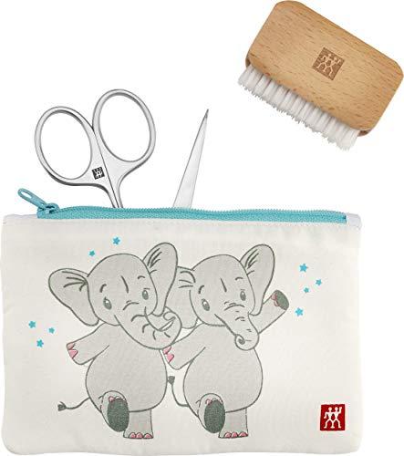 ZWILLING Baby und Kinder Nagelpflegeset, 3-teilig Schonende Nagelpflege Maniküre Geschenk Set Elefant