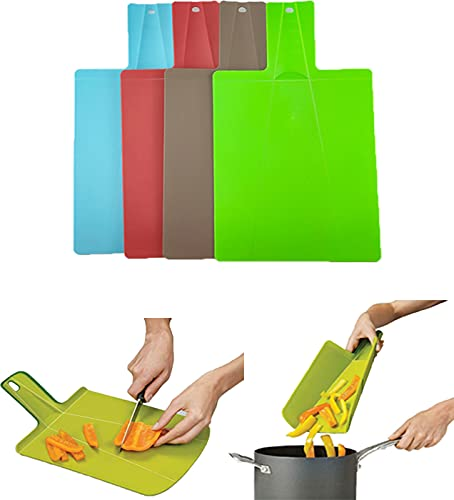 Plastic Utility Cutting Board with Handles,Foldable Camping Cutting Board,Non-Slip Feet Dishwasher Safe (Blue)