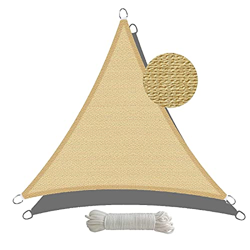 Amazon Brand - Umi. Toldo Vela Triángulo Permeable Al Aire Y Al Agua con Protección UV para Instalación En Patios, Azoteas Y Jardines, 5 x 5 x 5 m- Arena