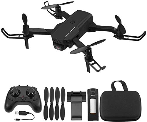 Powerextra RC Mini Drone 720P con Telecamera - Quadcopter Drone Pieghevole WiFi FPV 2.4GHz 3D Flip e Funzione Spin ad Alta Velocità Rotazione à per Bambini e Principianti - Drone con 2 Batteria Nero
