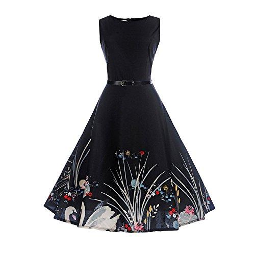 VEMOW Heißer Elegante Damen Mädchen Frauen Vintage Bodycon Sleeveless Beiläufige Abendgesellschaft Tanz Prom Swing Plissee Retro Kleider(X1-Weiß 3, 38 DE/L CN)
