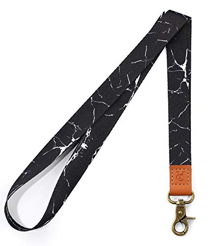 Lanyard with id Holder Cute lanyards for Women Men Neck Lanyard for Keys id Badge Holder (Black Marble)