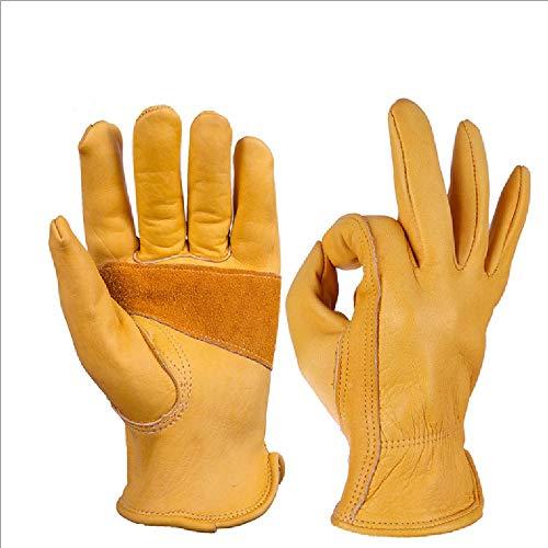 Liaiqing Lederarbeitshandschuhe for die industrielle Produktion/Reiten/Fahren/Gartenbau/Bauernhof Jagd-Handschuhe - extrem weich und Sweat-saugfähig Winter warme Handschuhe Männer & Frauen, EL