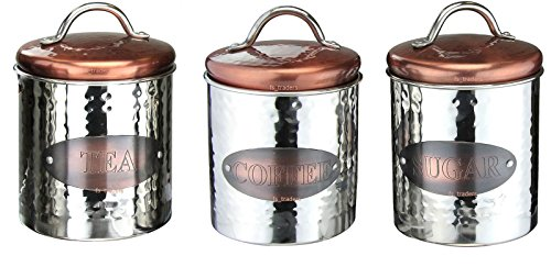 Stainless Steel Vintage Copper Tea Coffee Sugar Canister Jars Tins with Air Tight Lid