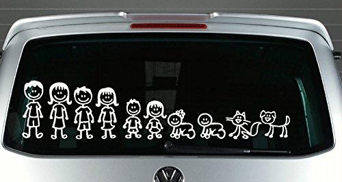 Großfamilie Familienmitglieder Aufkleber Autoaufkleber Sticker Auto`+ Bonus Testaufkleber