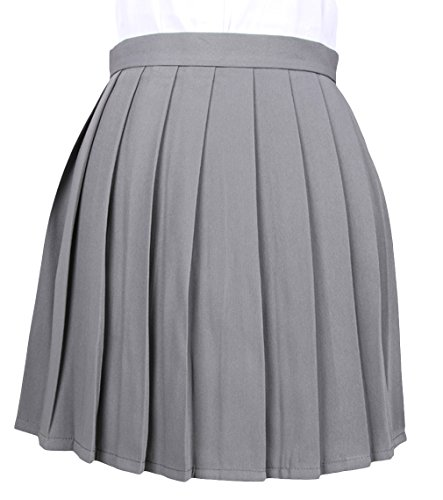 La vogue Mädchen Damen A-Linie Schule Uniform Rock Minirock Grau Maße4(XL)