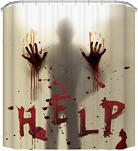 CHICHIC 71 Inch x 71 Inch Halloween Shower Curtain Liner Window Curtains, Help Me with Bloody Hands for Halloween Decorations Theme Decor Props Bathroom