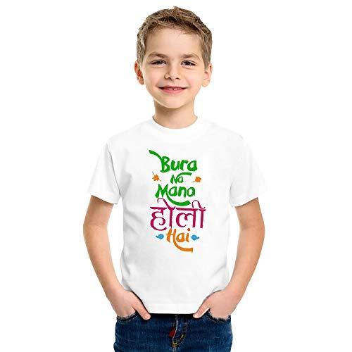 Print Holi T-Shirt for Kids Printed Holi Hai Round Neck Matte Tshirts All Aizes (2-3 Years) White
