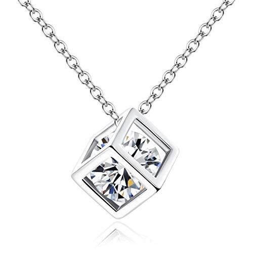 ZAOPP Joyería Pendiente de Cristal de Rhinestone for Mujeres Moda Oro/Color de Plata Cuadrado de la clavícula del Collar de la Boda Accesorios (Metal Color : Silver)