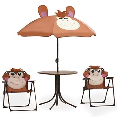GOTOTOP - Juego de muebles de jardín para niños de exterior con sombrilla, para niños, 1 mesa, 2 sillas, 1 sombrilla marrón