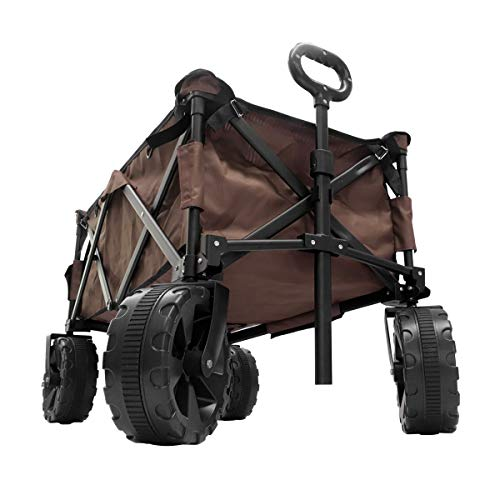 MERMONT キャリーワゴン (ブラウン) 自立収納 折りたたみ式 コンパクト 耐荷重90kg 大型タイヤ アウトドア BBQ 運動会 キャリーカート