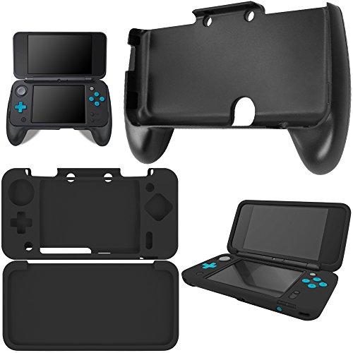 AFUNTA Hand Grip para New Nintendo 2DS XL con Funda de Silicona, Mango de Plástico con Funda Protectora Antideslizante para Consola 2DS LL - Negro
