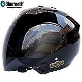 MTTKTTBD Casque Moto Jet Bluetooth,Professionnel Casques Moto avec Anti-buée Double Visière pour...