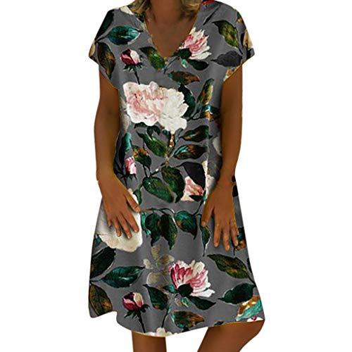 Auifor vrouwen zomer V-hals korte mouwen jurk dagwijnoogst-kleuren block-jurken