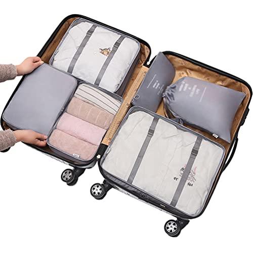 Ketamyy - Set di 6 cubi da viaggio per imballaggio, organizer per bagagli, sacchetti di compressione, per vestiti, valigie, campeggio, colore: grigio