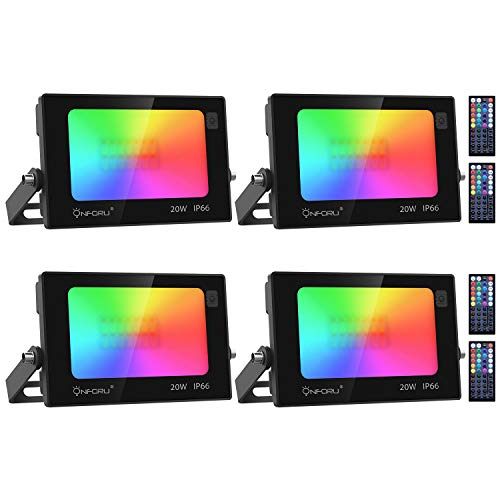 Onforu 4 Pack 20W Color LED Flood Lights, RGB LED Flood Light with Remote Control, IP66 Waterproof Outdoor Indoor Color Changing Floodlight, Dimmable Wall Washer Light for Party, Garden, Landscape