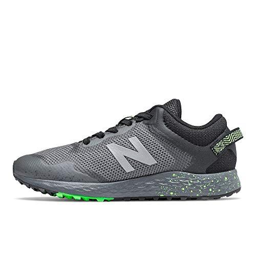 New Balance Kid's Fresh Foam Arishi Trail V1 Bungee Running Shoe, Lead/Black/Energy Lime, 2 Little