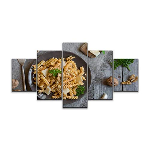 5 panels Wall Art Print On Canvas fusilli pasta with walnut sauce noodles stock pictures royalty free Modern Abstract Picture Poster for Home Decor Stretched and Framed Ready to Hang (60''Wx32''H)