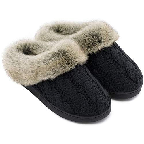 Women's Soft Yarn Cable Knitted Slippers Memory Foam Anti-Skid Sole House Shoes w/Faux Fur Collar, Indoor & Outdoor (7-8, Black)