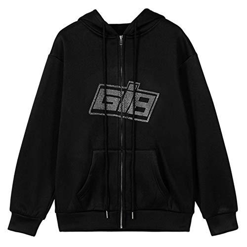 Y2K Mode Strass Reißverschluss Übergroße Hoodies E-Girl Vintage Solid Letter Langarm Schwarz Sweatshirts Herbst Outfits