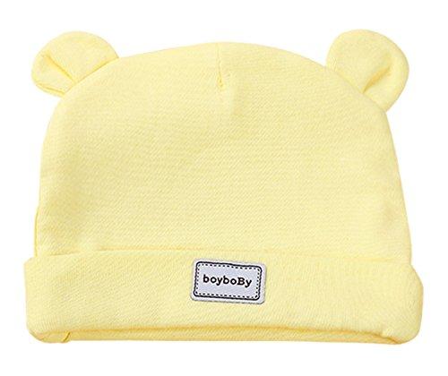 Feoya Gorro Gorra para Bebés Sombrero de Punto Recien Nacido Hat Primavera con Orejas Lindo Algodón Color Sólido Amarillo 0-3 Meses