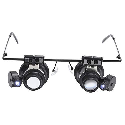 Lentes de aumento de doble lente,lentes de aumento de bolsillo HD,con 2 luces LED,marco de lentes ajustable,para identificación de reparación de joyas/reparación de relojes/investigación de campo.